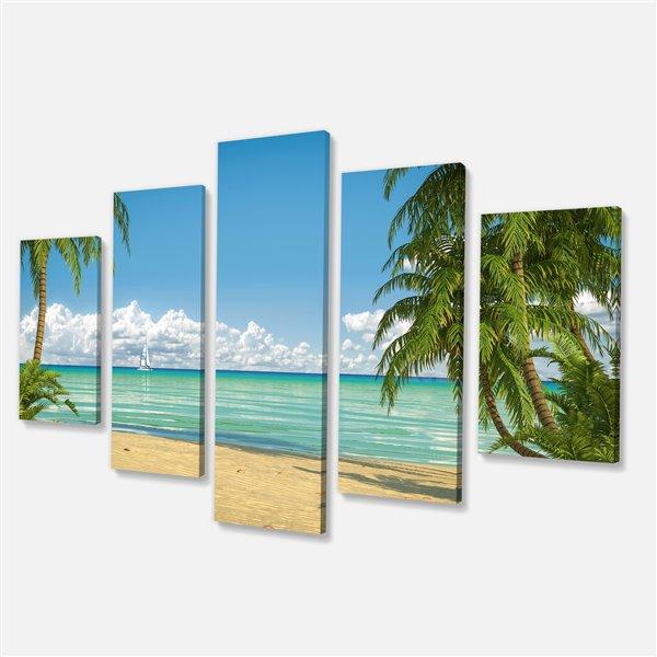 Designart Canada Palms at Caribbean Beach 32-in x 60-in 5 Panel Wall Art