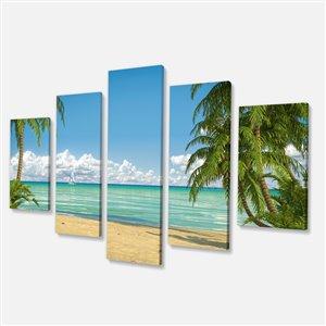 """Tableau, palmiers mer des Caraïbes, 32"""" x 60"""", 5  panneaux"""