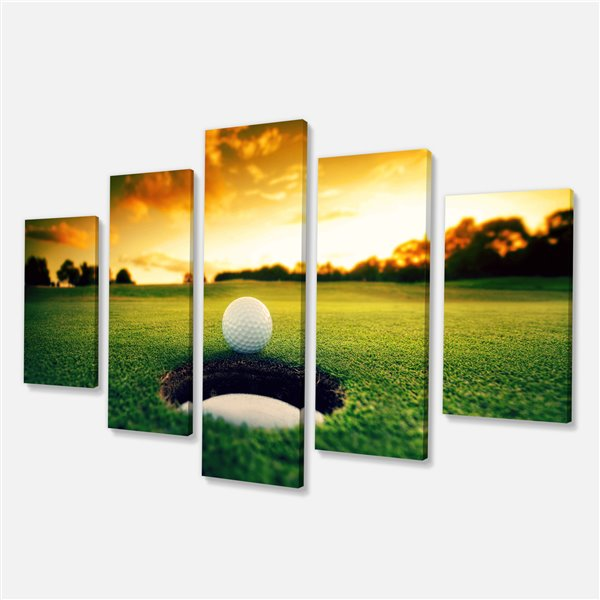 Designart Canada Golf Ball Near Hole 32-in x 60-in 5 Panels Wall Art