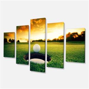 "Tableau d'art, balle de golf, 32"" x 60"", 5 panneaux"