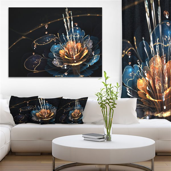 Designart Canada Orange and Blue Flower with Water Drops 30-in x 40-in Canvas Wall Art