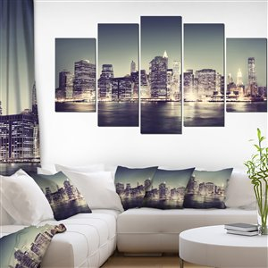Designart Canada New York Night 32-in x 60-in 5 Panel Wall Art