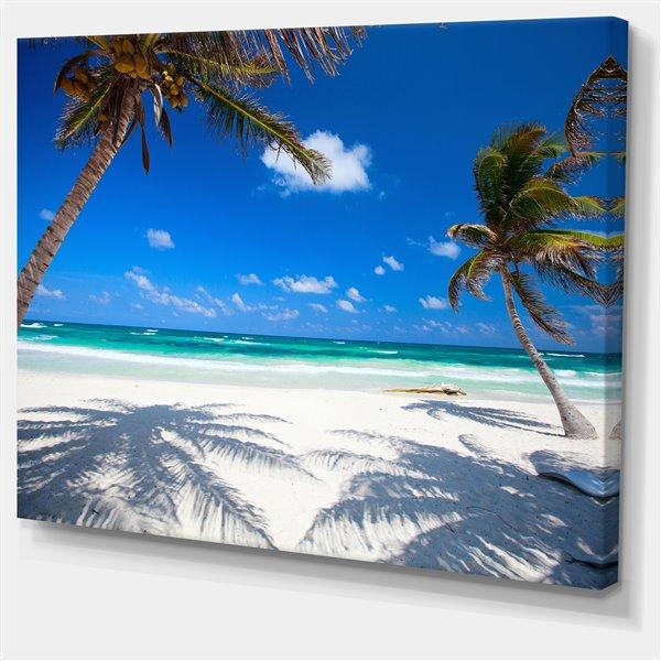 """Tableau d'art, cocotiers sur la plage, 30"""" x 40"""""""