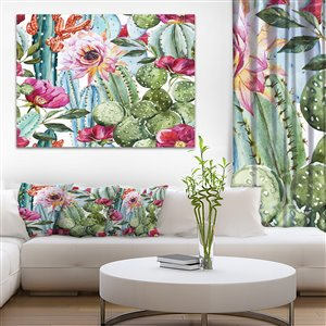 Designart Canada Cactus Watercolour 30-in x 40-in Canvas Print Wall Art