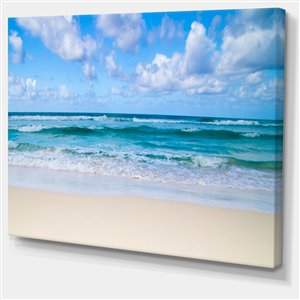 """Tableau d'art, sereine plage tropicale bleue , 30"""" x 40"""""""