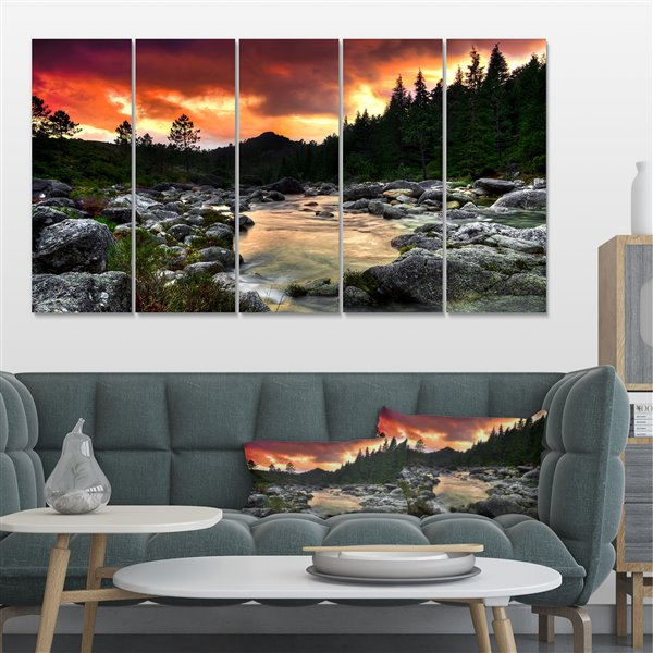 Designart Canada Rocky Mountain River at Sunset 28-in x 60-in 5 Panel Wall Art