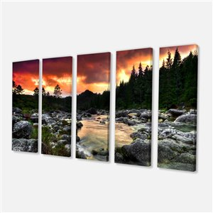 Rocky Mountain River at Sunset 28-in x 60-in 5 Panel Wall Art