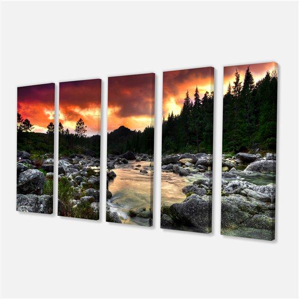 """Tableau, rivière au crépuscule, 28"""" x 60"""", 5 panneaux"""