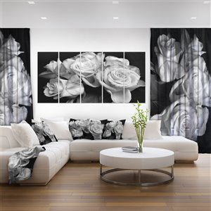 Designart Canada Black and White 28-in x 60-in 5 Panel Roses Canvas Print Wall Art