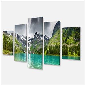 """Tableau, panorama lac de montagne, 32"""" x 60"""", 5 panneaux"""