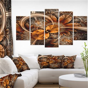 Designart Canada Dark Orange Fractal Flower 32-in x 60-in 5 Panel Wall Art