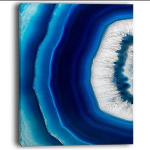 Designart Canada Blue Agate Crystal 40-in x 30-in Print On Canvas Wall Art