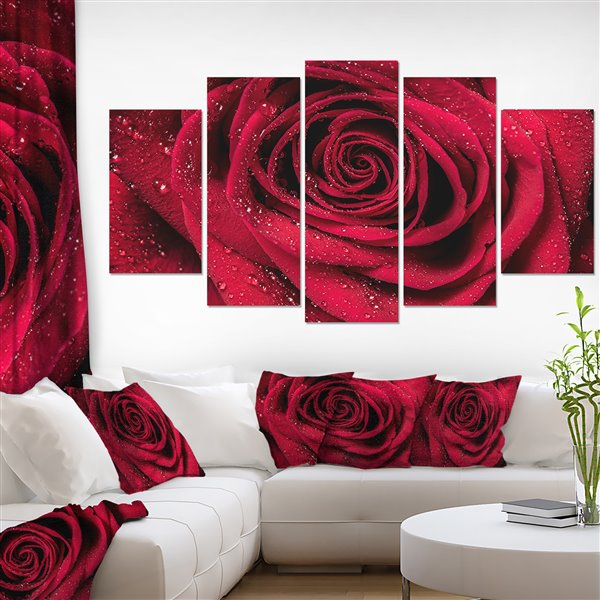 Designart Canada Red Rose Canvas Print 32-in x 60-in 5 Panel Wall Art