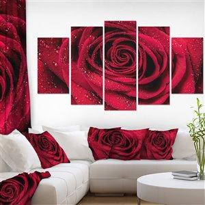 """Toile imprimée, pétales de rose rouge, 32"""" x 60"""", 5 Panneaux"""
