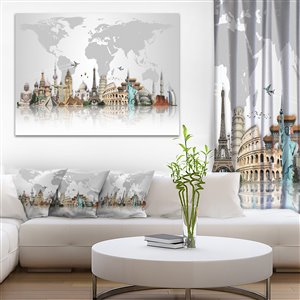 Designart Canada Famous Monuments Across World Print on Canvas 30-in x 40-in