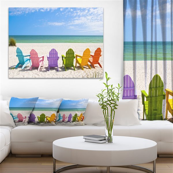 Designart Canada Adirondack Beach Chairs 30-in x 40-in Canvas Wall Art