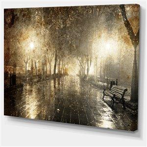 """Tableau d'art, allée de nuit éclairée, 30"""" x 40"""""""