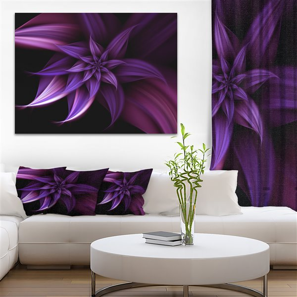 Designart Canada Purple Fractal Flower 30-in x 40-in Canvas Wall Art