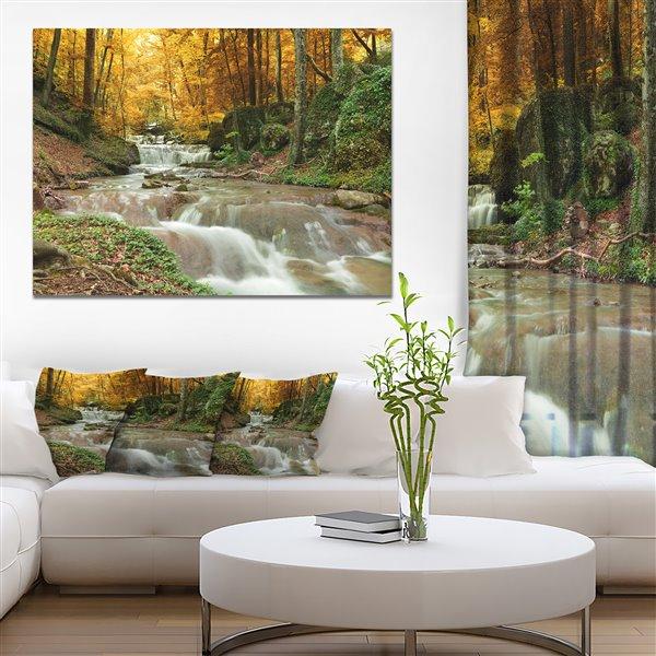 """Tableau, chute d'eau dans la forêt d'automne, 30"""" x 40"""""""