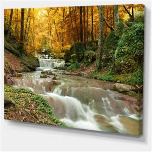 Designart Canada Forest Waterfall with Yellow Trees Wall Art 30-in x 40-in