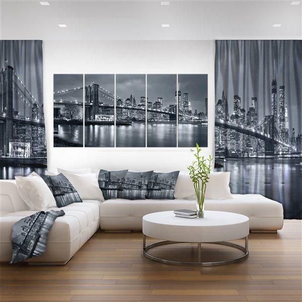 """Toile imprimée New York de nuit, 5 panneaux, 60"""" x 28"""""""