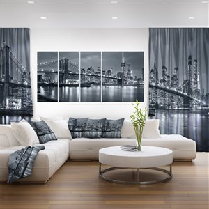 Designart Canada New York at Night Canvas Print 28-in x 60-in 5 Panel Wall Art