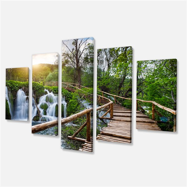 Designart Canada Plitvice Lakes Canvas Print 32-in x 60-in 5 Panel Wall Art