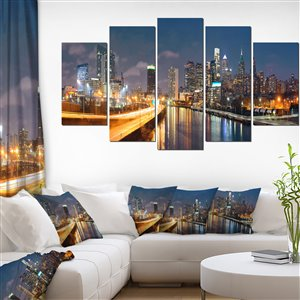 Designart Canada Philadelphia at Night Canvas Print 32-in x 60-in 5 Panel Wall Art