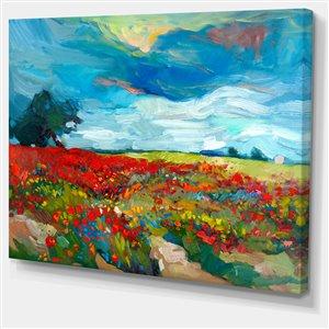Designart Canada Flower Fields Print on Canvas 30-in x 40-in