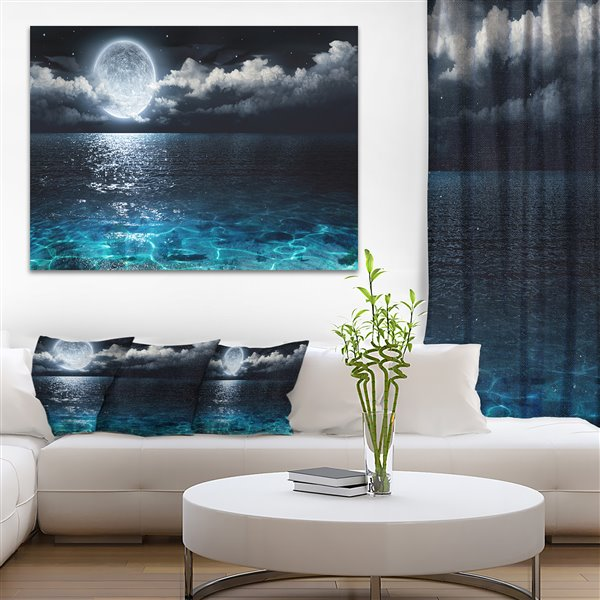 Designart Canada Full Moon Over Sea Canvas Print 30-in x 40-in