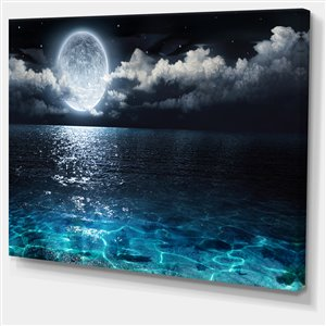 Full Moon Over Sea Canvas Print 30-in x 40-in