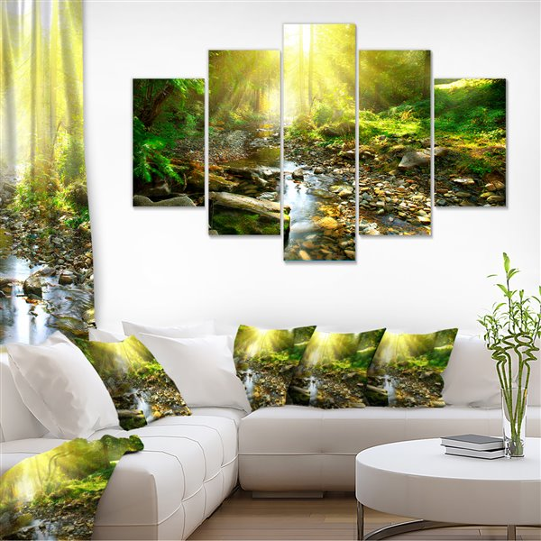 Designart Canada Mountain Stream Canvas Print 32-in x 60-in 5 Panel Wall Art