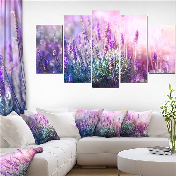Designart Canada Lavender Canvas Paint 32-in x 60-in 5 panel Wall Art