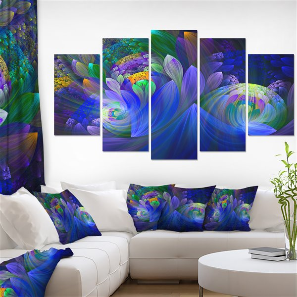 Designart Canada Fractal Flower Canvas Print 32-in x 60-in 5 Panel Wall Art