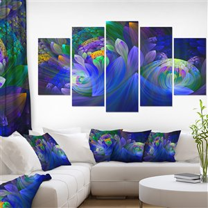 Fractal Flower Canvas Print 32-in x 60-in 5 Panel Wall Art