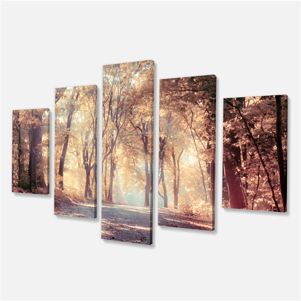 Designart Canada Autumn Forest Canvas 60-in x 32-in 5 Panel Artwork