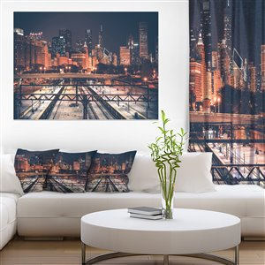 Designart Canada Chicago Night Skyline Canvas Print Wall Art 30-in x 40-in