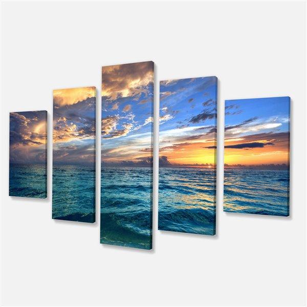 Designart Canada Exotic Beach Canvas Print 32-in x 60-in 5 Panel Wall Art