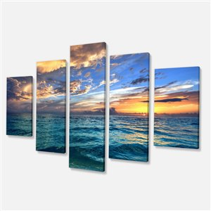 Exotic Beach Canvas Print 32-in x 60-in 5 Panel Wall Art
