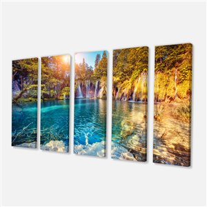 Designart Canada Turquoise Water Canvas Print 28-in x 60-in 5 Panel Wall Art