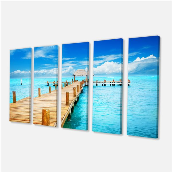 Designart Canada Mexico Canvas Paint 28-in x 60-in 5 panel Wall Art