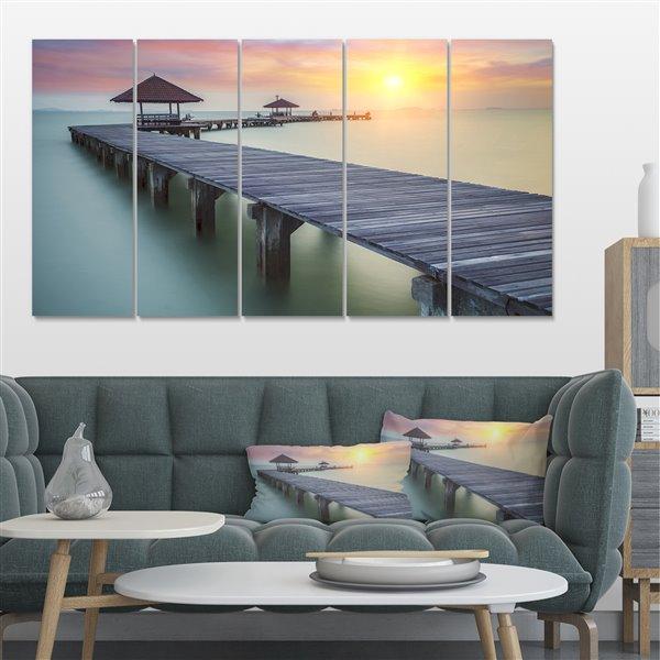 """Toile imprimée pont sure la mer, 60"""" x 28"""", 5 panneaux"""