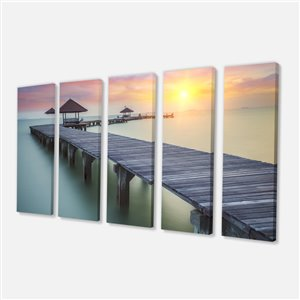 Sea Bridge Canvas Print 28-in x 60-in 5 Panel Wall Art