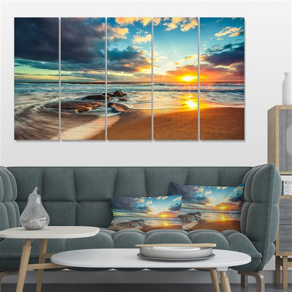 Designart Canada Cloudscape over the Sea 28-in x 60-in 5 Panel Wall Art