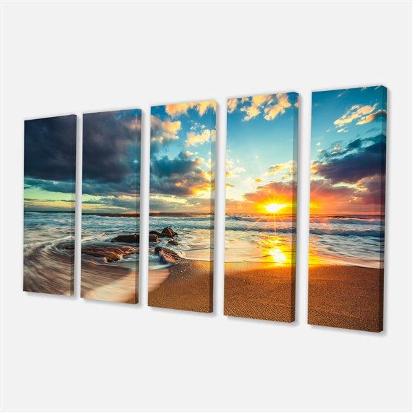 """Paysage-nuages sur la mer, tableau d'art, 28""""x60"""", 5 pièces"""