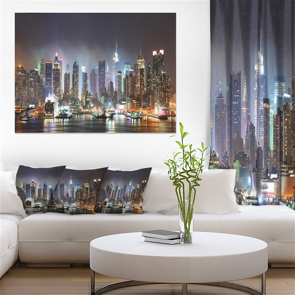 Designart Canada Time Square in Blue Light 30-in x 40-in Canvas Wall Art