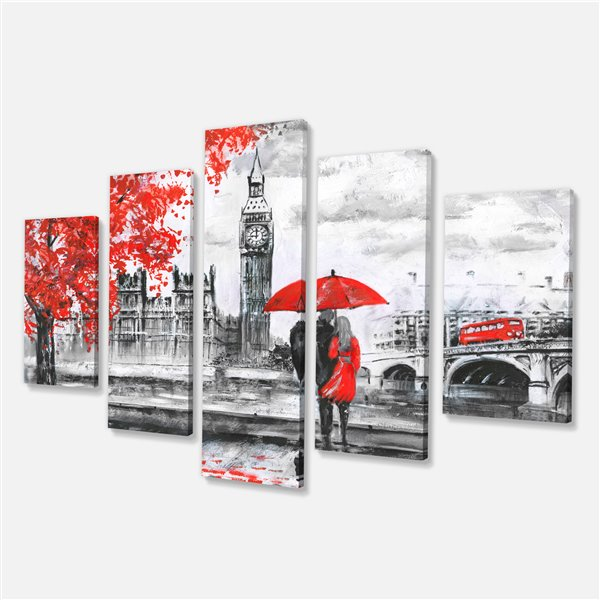 Designart Canada Couple Walking in London Print on Canvas 32-in x 60-in 5 Panel Wall Art