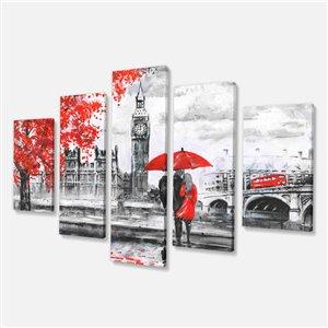 """Couple marchant dans Londres, tableau, 32""""x60"""", 5 pièces"""
