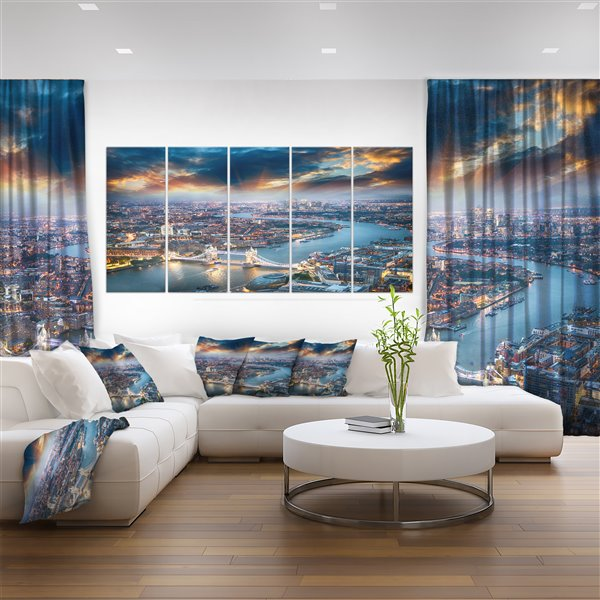 """Designart Canada London at Dusk from Above-Canvas Print- 28""""x60""""-5 Panels"""