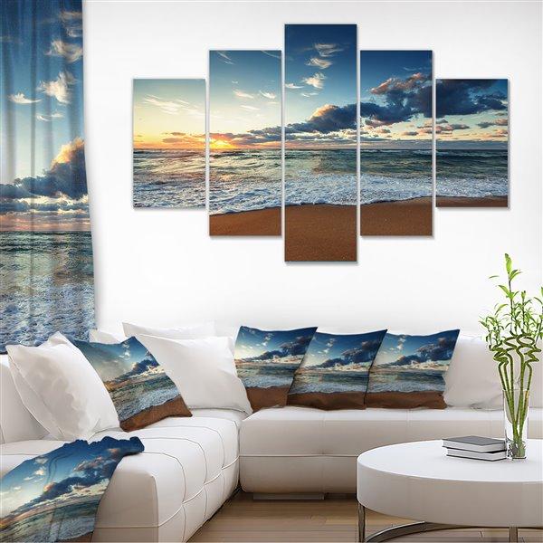 Designart Canada Sunrise Above the Ocean 32-in x 60-in 5 Panel Wall Art